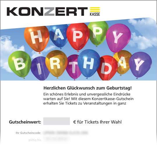 Online-Gutschein, Motiv: Happy Birthday