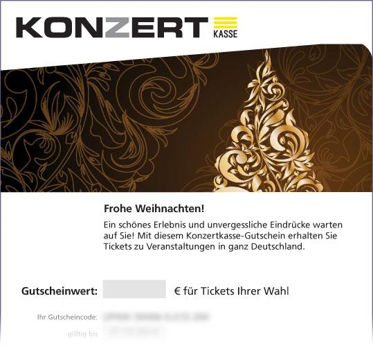 """Gutschein, Motiv: Weihnachten """"Gold-Tannenbaum"""""""