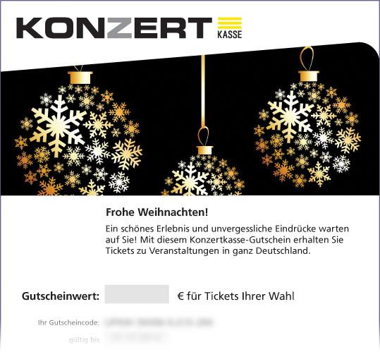 Gutschein, Motiv: Weihnachtskugeln auf Schwarz