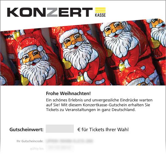"""Gutschein, Motiv: Weihnachten """"Weihnachtsmänner"""""""