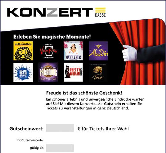 Online-Gutschein, Motiv: Musicals