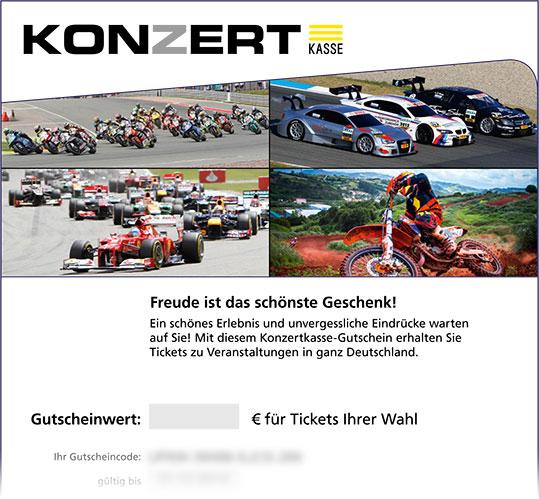 Online-Gutschein, Motiv: Motorsport