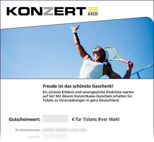 Online-Gutschein, Motiv: Tennis